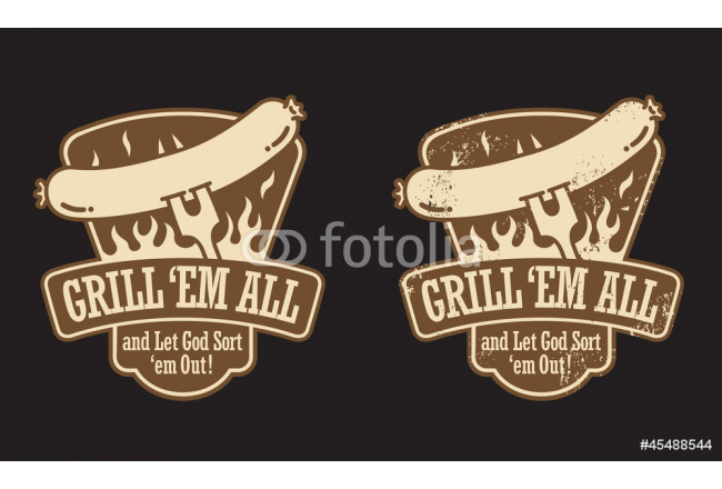 Cuadro decorativo Barbecue vector emblem. Includes clean and grunge versions. 64239