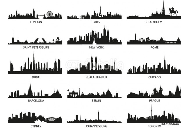 vector silhouettes of the city skylines 64239