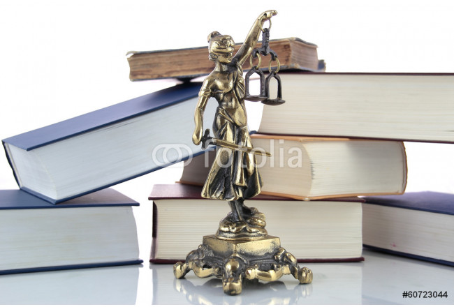 Cuadro decorativo Justice Statue and books. Lawyer background 64239
