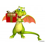 Dragon cartoon character with gift box 64239