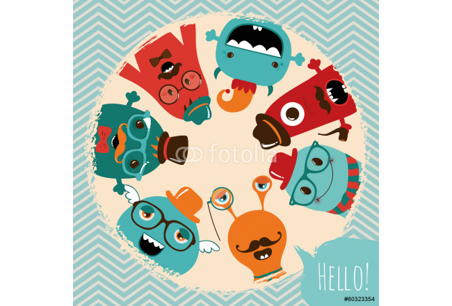 Hipster Retro Monsters Card Design 64239