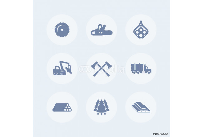 Logging, forestry equipment icons, sawmill, logging truck, tree harvester, timber, lumber, logging isolated icons, vector 64239