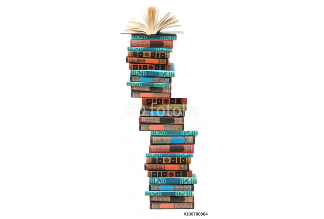 Book pile isolated on white background with sample text 64239