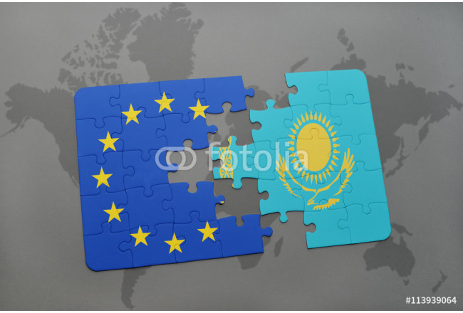 puzzle with the national flag of kazakhstan and european union on a world map background. 64239