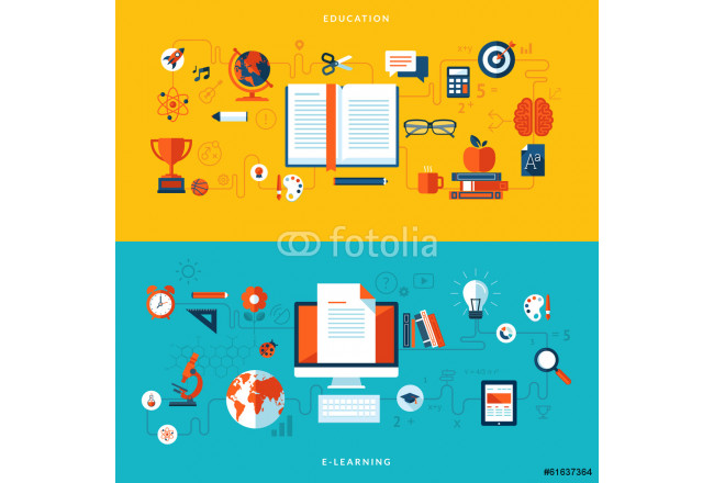 Flat design concepts of education and online learning 64239