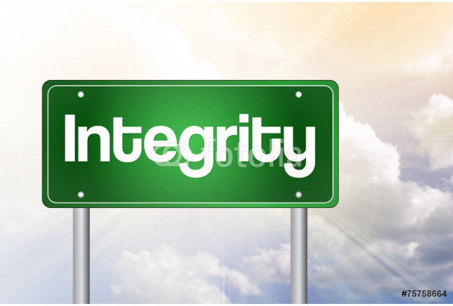 Integrity Green Road Sign, business concept 64239