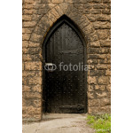 Black Medieval arched door way in the wall of Nottingham castle 64239
