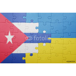 puzzle with the national flag of ukraine and cuba 64239