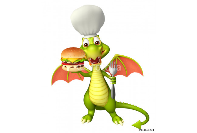fun Dragon cartoon character with burger and chef hat 64239