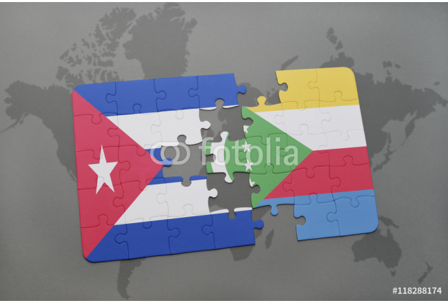 Bild auf Leinwand puzzle with the national flag of cuba and comoros on a world map background. 64239