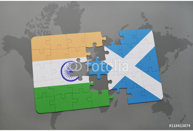 puzzle with the national flag of india and scotland on a world map background. 64239