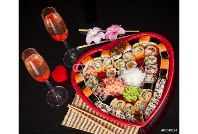 Delicious sushi. Big sushi set for few persons. 64239