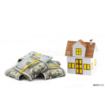 Mortgage concept. Close-up small toy house with heap of dollar 64239
