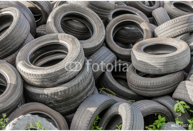 Art painting old tires in a landfill 64239