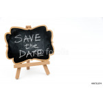 Wooden easel mini blackboard, text SAVE THE DATE 64239