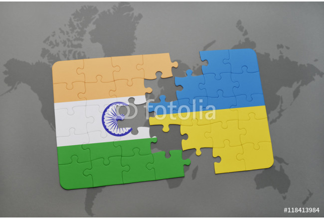 puzzle with the national flag of india and ukraine on a world map background. 64239