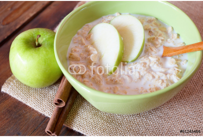 Bowl of oatmeal with apples 64239