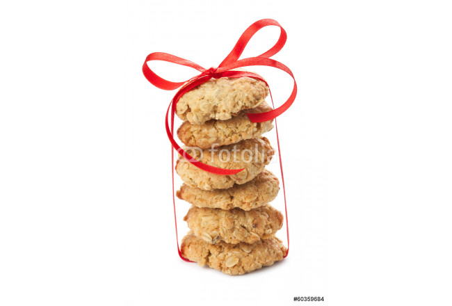 Six oatmeal cookies tied with a red ribbon 64239