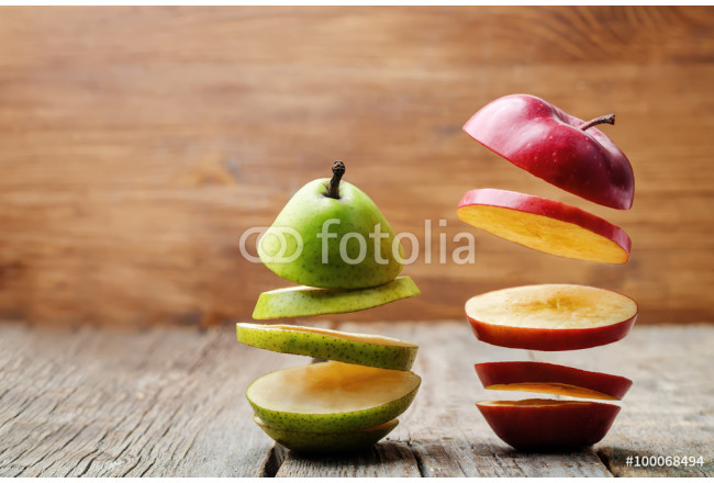 flying slices of fruit: apple, pear 64239