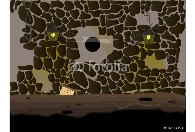 Vector Seamless cartoon nature landscape, underground cave endless background with lighting of lamps and cobwebs hanging 64239