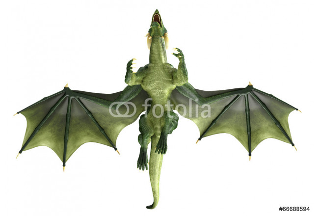 Art painting green dragon flying over 64239