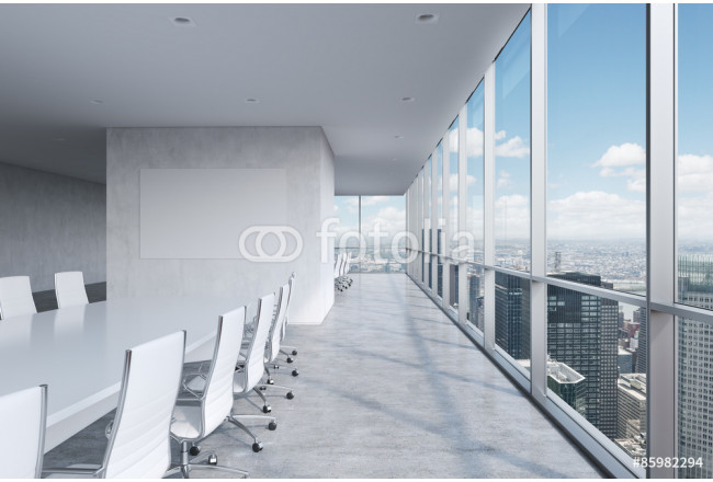 Toile déco Modern panoramic conference room. A white rectangular table and chairs around it. New York City view. 64239