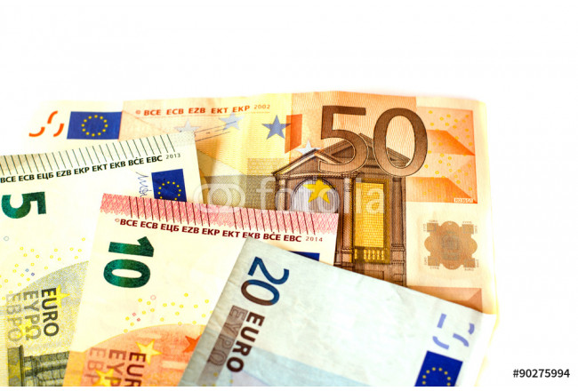 Bills nominal value of five euros EUR 5, ten euros EUR 10, twenty euros EUR 20 and fifty euros  EUR 50 white background of banknotes 64239