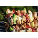 Grilling shashlik on barbecue grill 64239