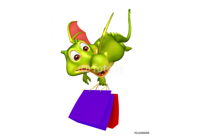 cute Dragon cartoon character with shopping bag 64239