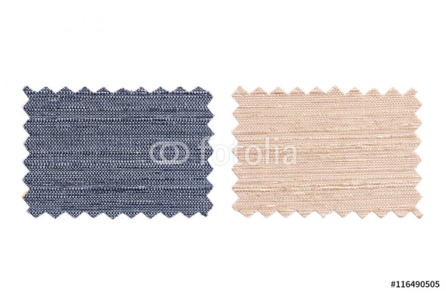 Set of sample pieces color fabric isolated on white 64239