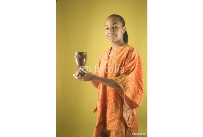 Portrait of girl holding chalice 64239