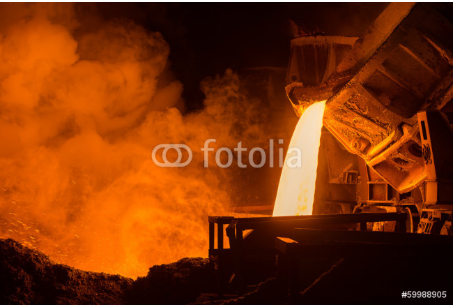 Hot steel pouring in steel plant 64239