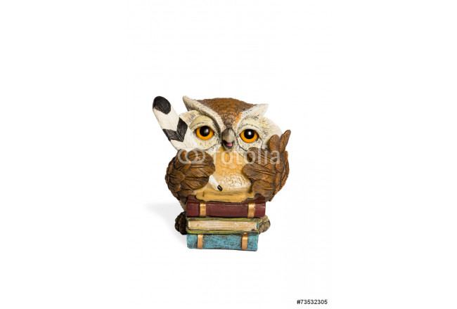 Statuette beige owl with feather and books 64239
