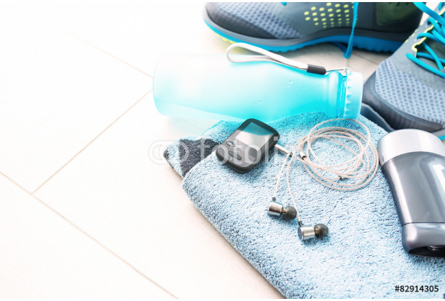 Pair of sport shoes and fitness accessories. Fitness concept 64239