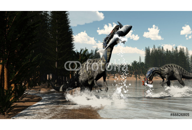 Painting Suchomimus dinosaurs fishing fish and shark - 3D render 64239