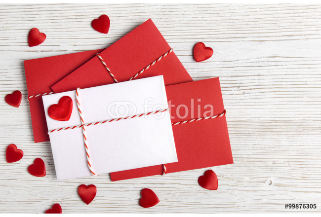 Valentines Day Envelope Mail, Red Heart, Wedding Letter 64239