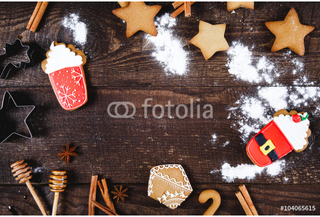 Christmas cookies and coffee on wooden table 64239