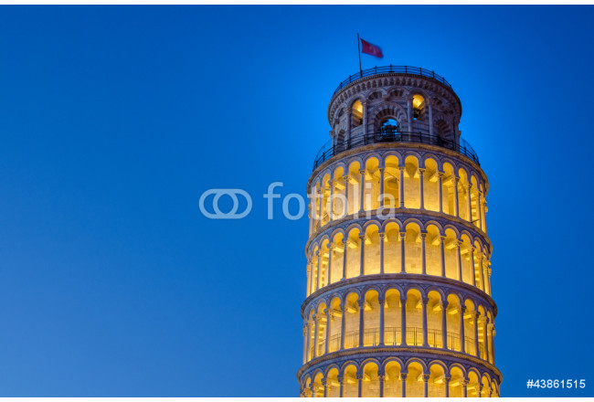 Leaning Tower of Pisa illuminated at Night 64239