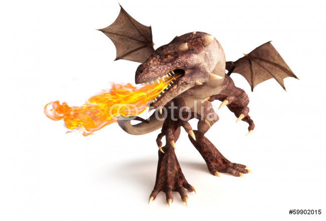 Fire breathing dragon on a white background. 64239