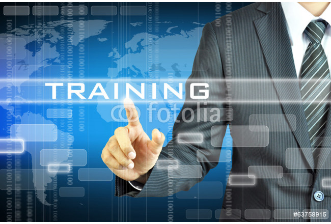Businessman touching TRAINING sign on virsual screen 64239