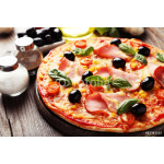 Delicious fresh pizza on brown wooden background 64239
