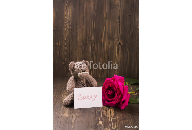 Teddy bear with a beautiful pink rose. Apology concept. Vintage style, selective focus 64239