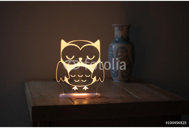 Yellow Illuminated Crystal Desk Lamp with Owl Imprint On Sidetab 64239