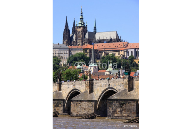 Spring Prague's gothic Castle with the Charles Bridge 64239