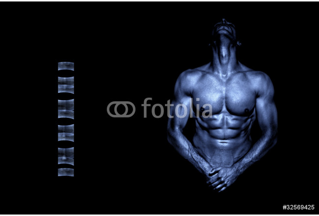 Young handsome naked athlete in metal blue color 64239