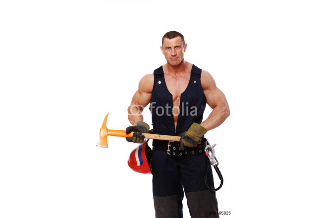 Portrait of handsome fireman posing on white background 64239