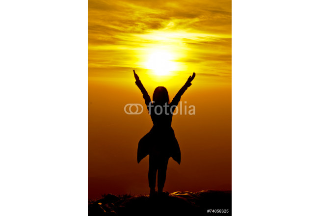 The success concept of silhouette of Young woman standing arms m 64239