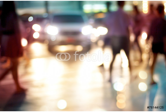 abstract people walk street night in the city, pastel and blur 64239