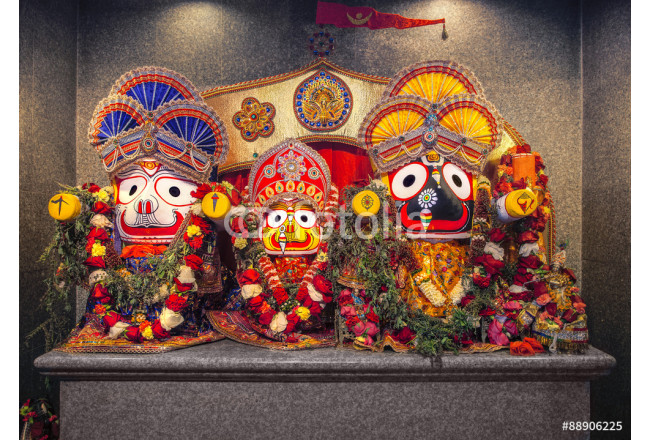 Jagannath idol with his elder brother Balabhadra and sister Subhadra, in Hindu Temple. Jagannath, believed to be an avatar of Lord Vishnu. 64239