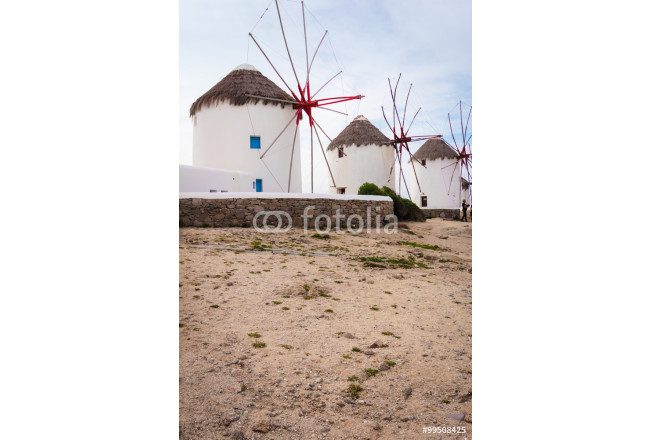 Four windmills in Chora Mykonos Greece 64239